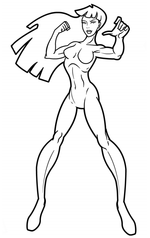 570x900 Drawing How To Draw A Superhero Girl Step By Step Easy