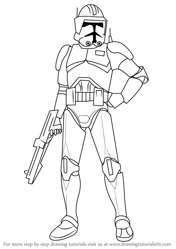 598x844 Learn How To Draw Cody From Star Wars (Star Wars) Step By Step