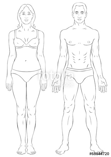 354x500 Man And Woman Body Outline Stock Image And Royalty Free Vector