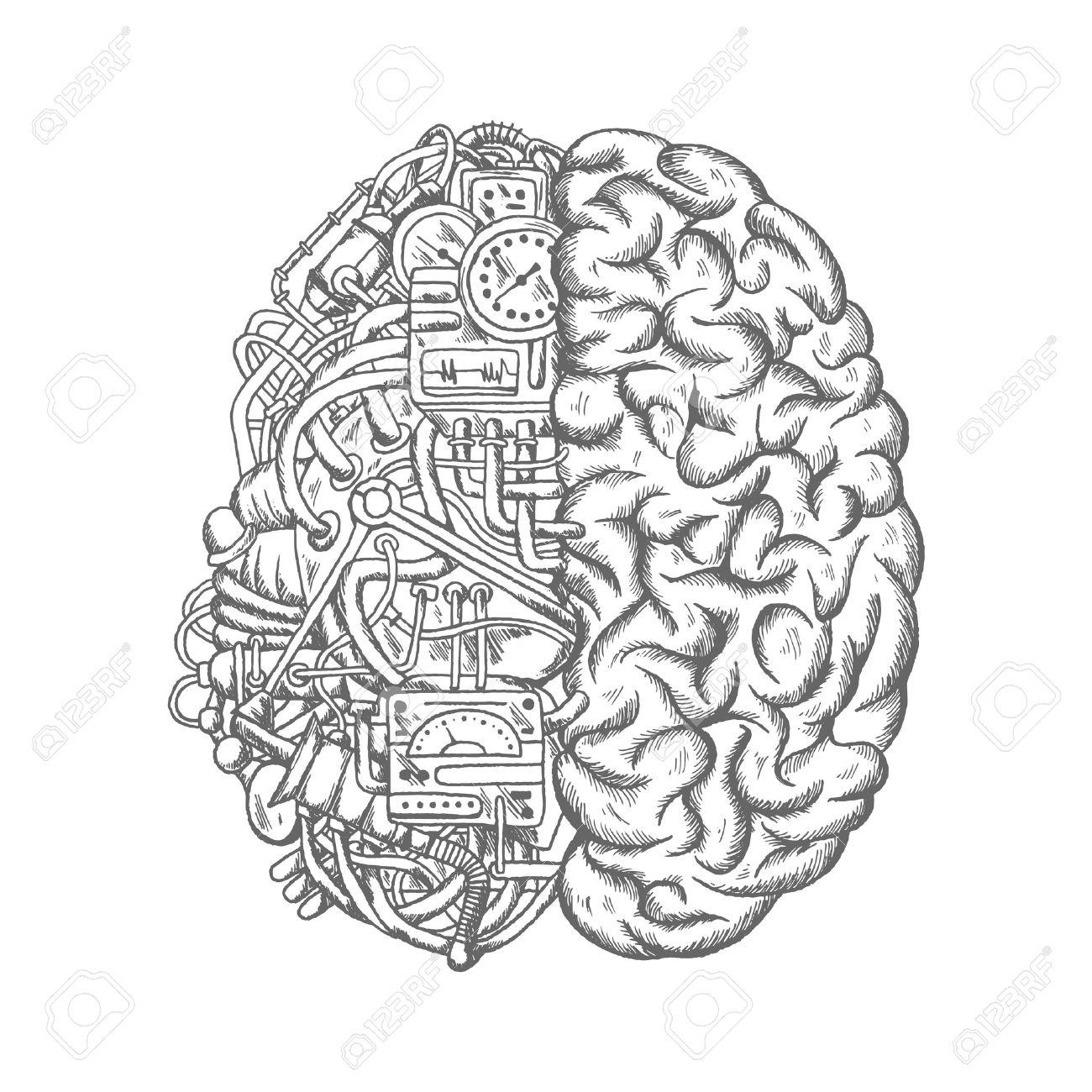 1300x1300 Brain Mechanism Sketch Vector Icon. Human Brain Half Of Machine
