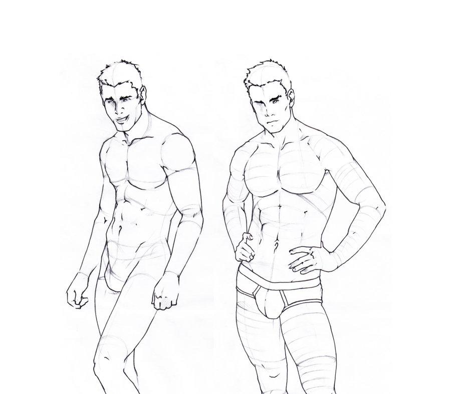 900x788 Male Body Sketches By Gruenedroehnung