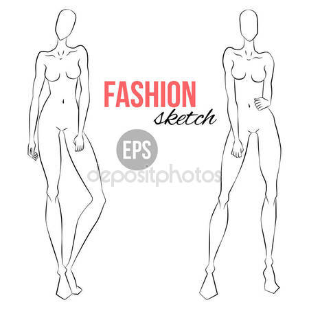 450x450 Women Figure Sketch Different Poses Template Drawing Stylist