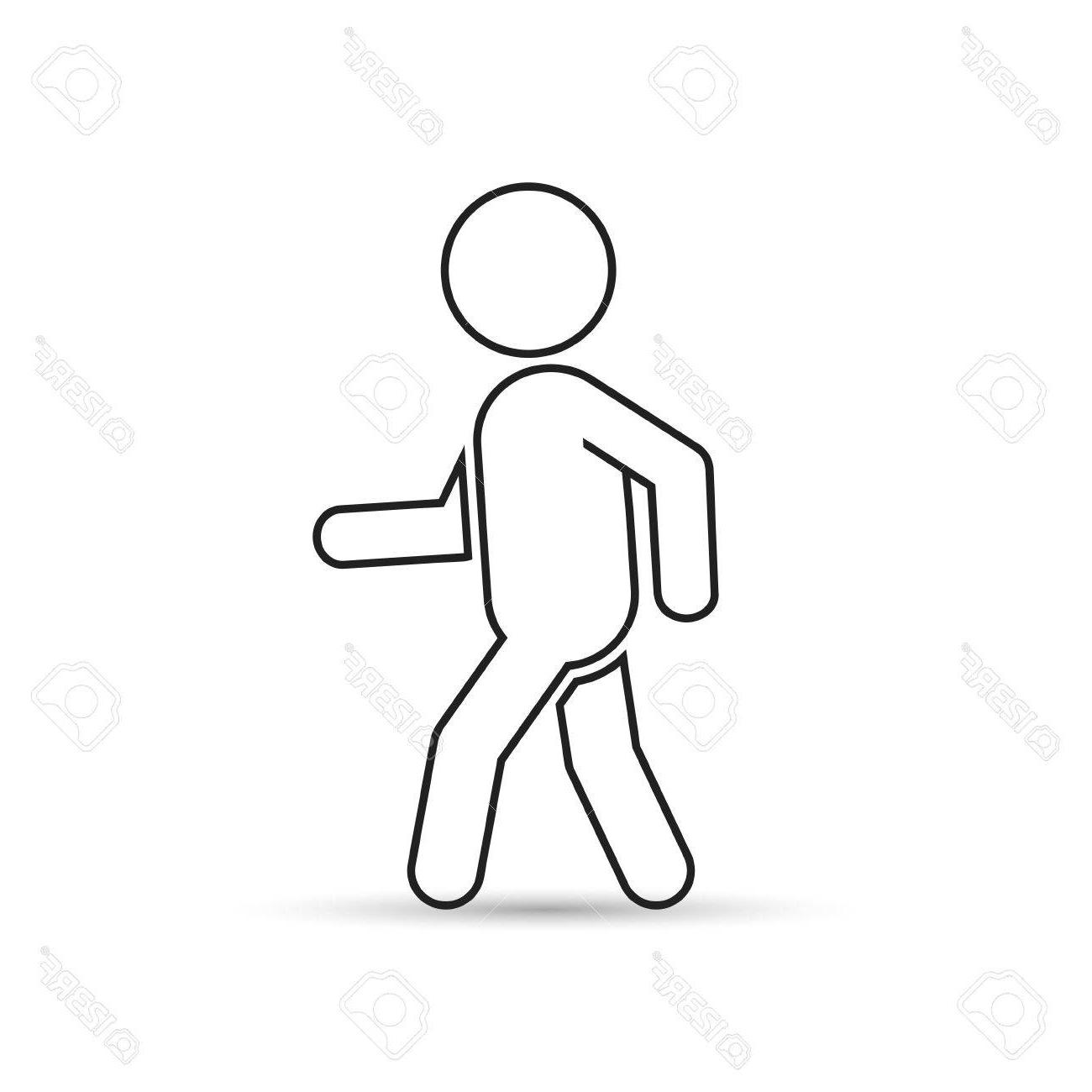 1300x1300 Unique Man Walk Icon Outline Vector Illustration Of Human Side