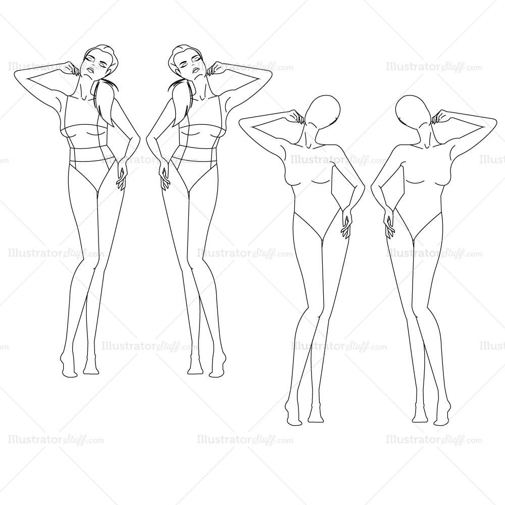 1000x1000 Female Fashion Croquis Template Illustrator Stuff