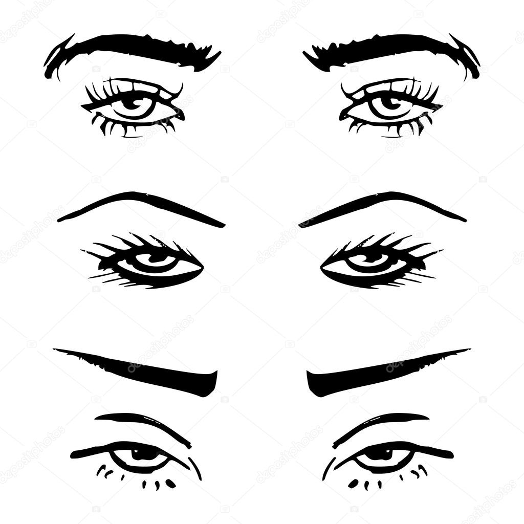 1024x1024 Hand Drawn Outline Human Eyes Set Stock Vector Superson