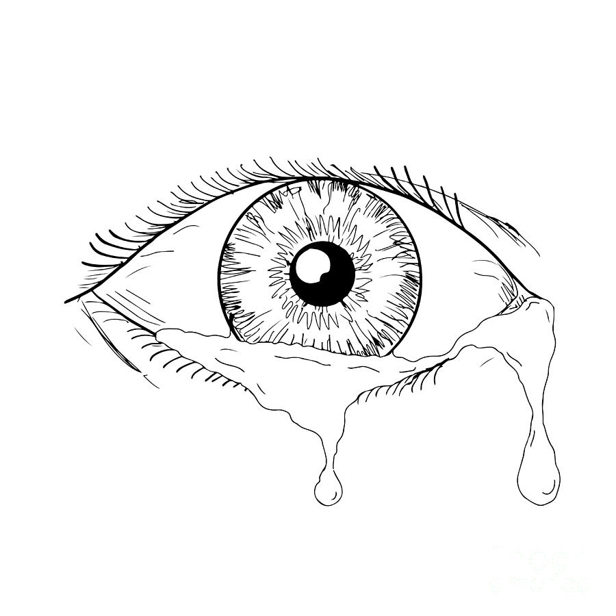 900x900 Human Eye Crying Tears Flowing Drawing Digital Art By Aloysius