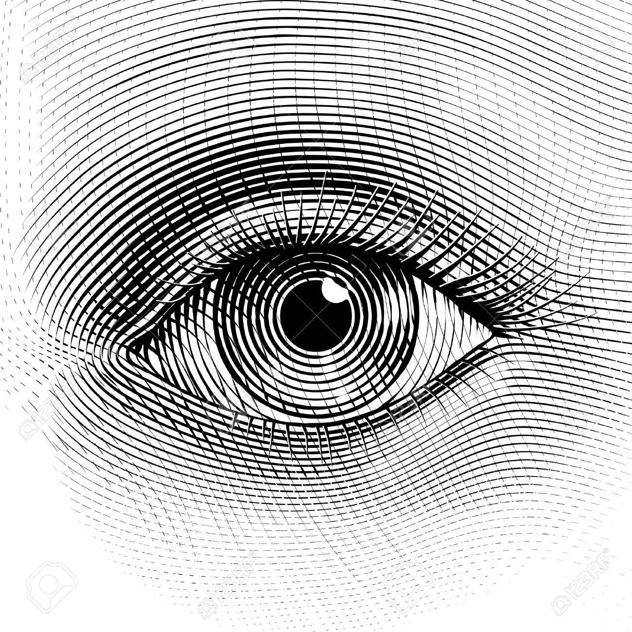1300x1300 Vector Human Eye In Engraved Style. Eps8. Cmyk. Organized By