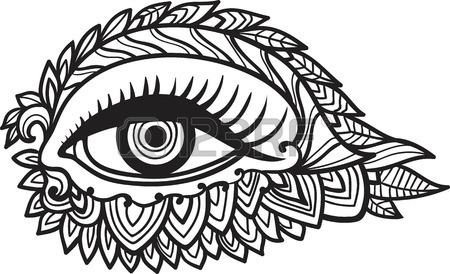 450x274 Vector Human Eye In Engraved Style. Mystic Esoteric Sacred Symbol