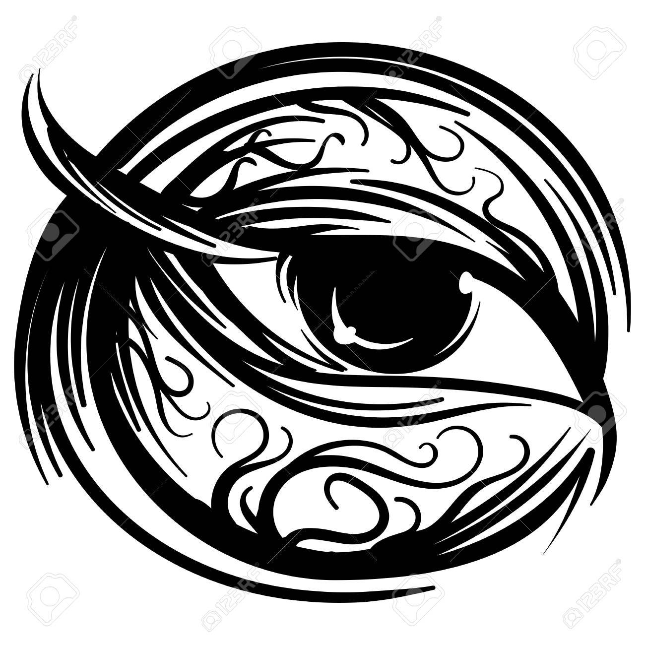 1300x1300 Vector Illustration Of Human Eye Stylized Of Ink Sketch Doodle