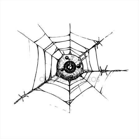 450x450 Eyeball Is Attached To The Spider Web And Barbed Hook