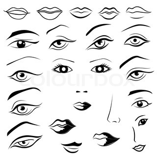 320x320 Set Of Woman Eyes, Lips, Eyebrows And Noses As Black Sketching