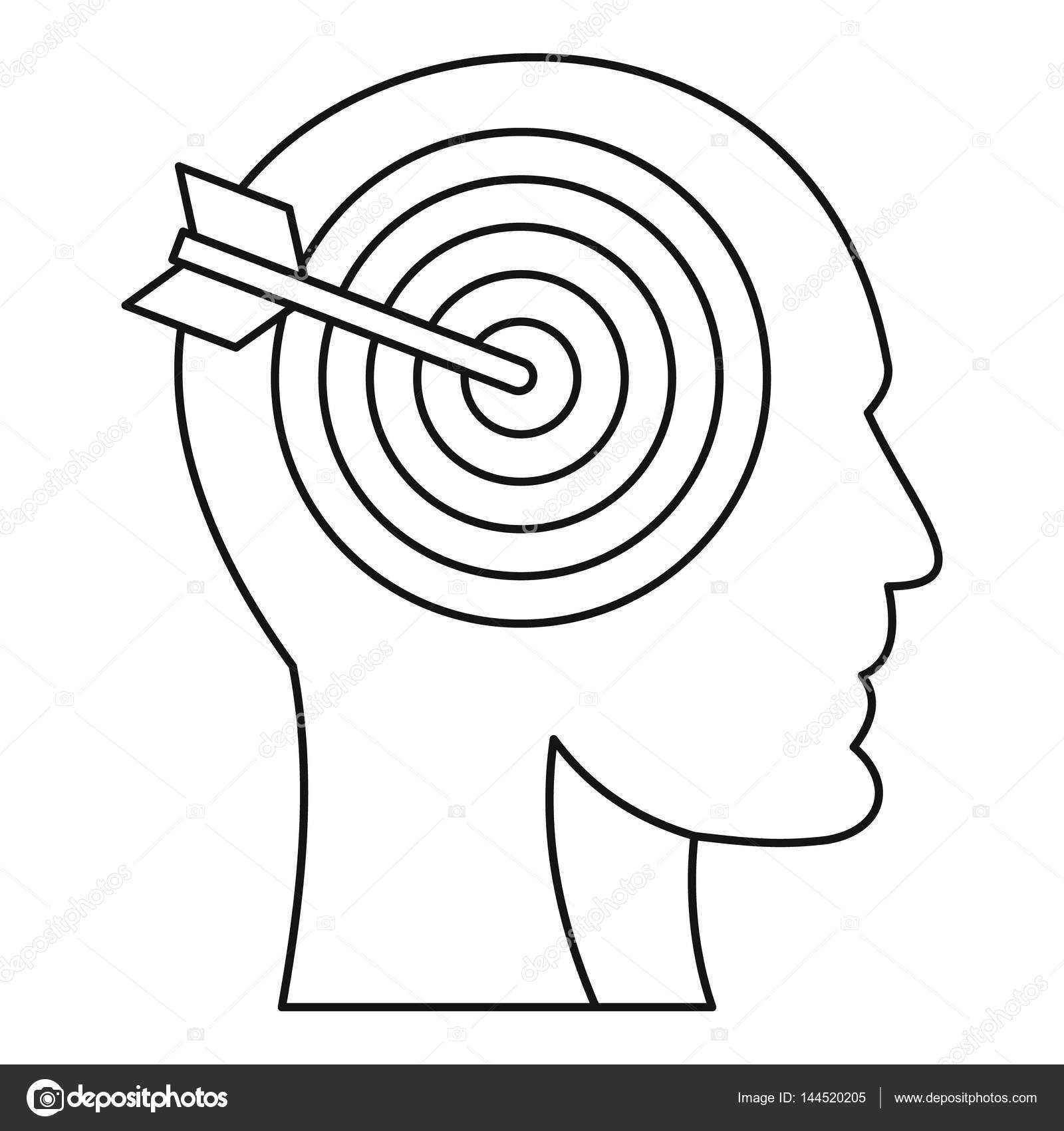 1600x1700 Human Head Profile With Target Inside Icon Stock Vector