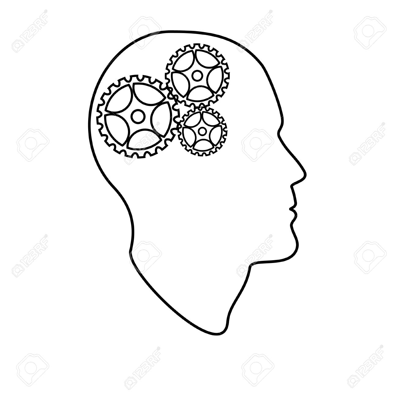 1300x1300 Outline Drawings Of Head Brain Vector Illustration, Creative