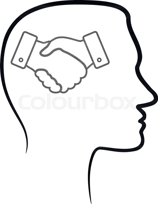 621x800 Outline Design Icon With Human Head, Brain And Black Linear