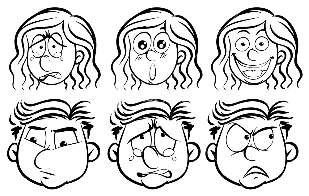 1000x633 Six Different Emotions On Human Faces Illustration Royalty Free