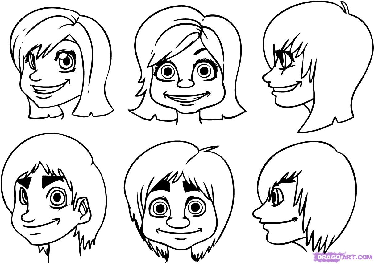 1212x857 To Draw Human Faces Step By Step Faces People Free Online Drawing