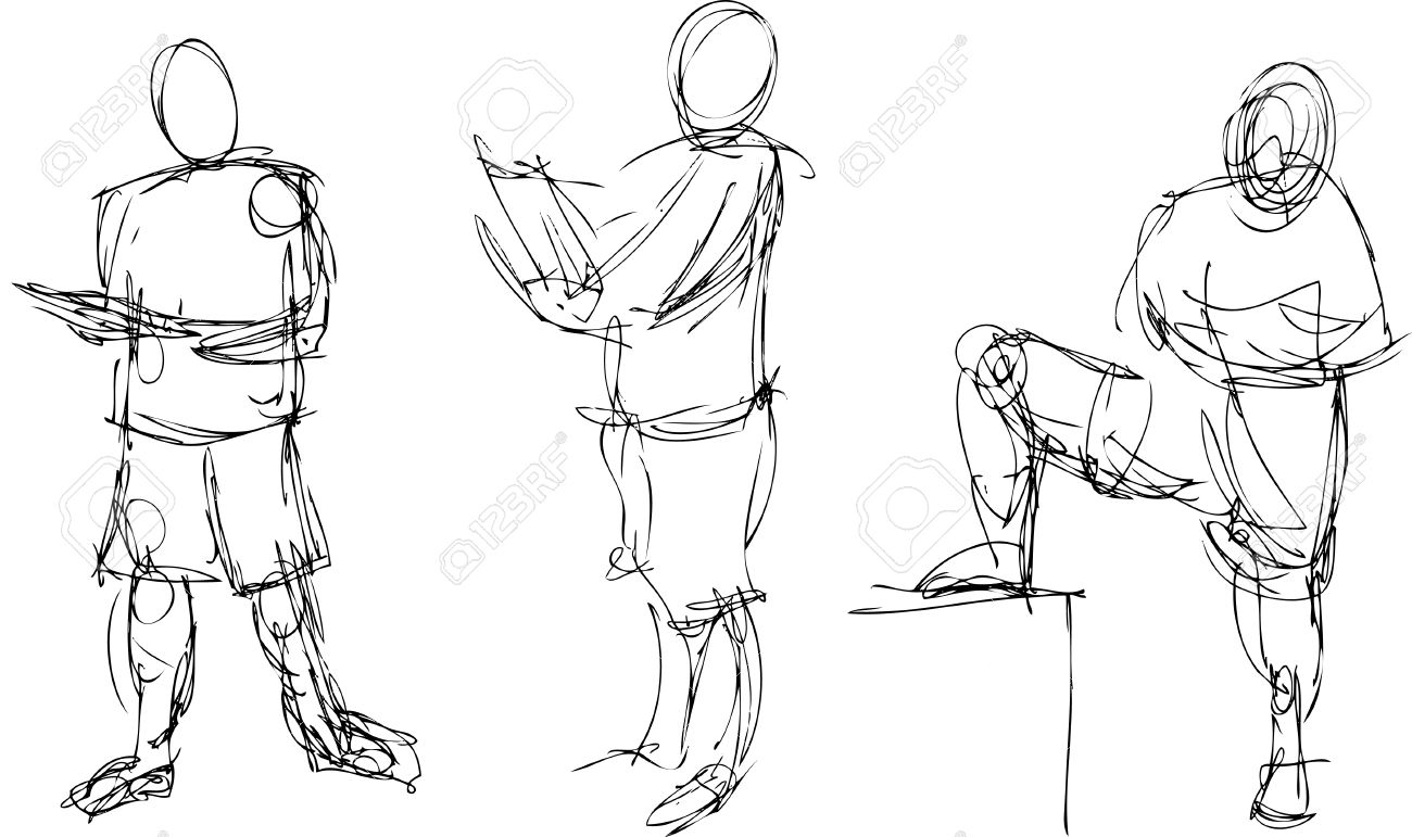 1300x771 Gestural Drawings Of The Human Figure In Action Royalty Free