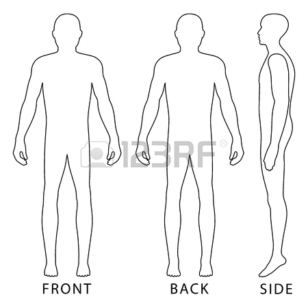 450x450 Fashion Body Full Length Bald Template Figure Silhouette (Front