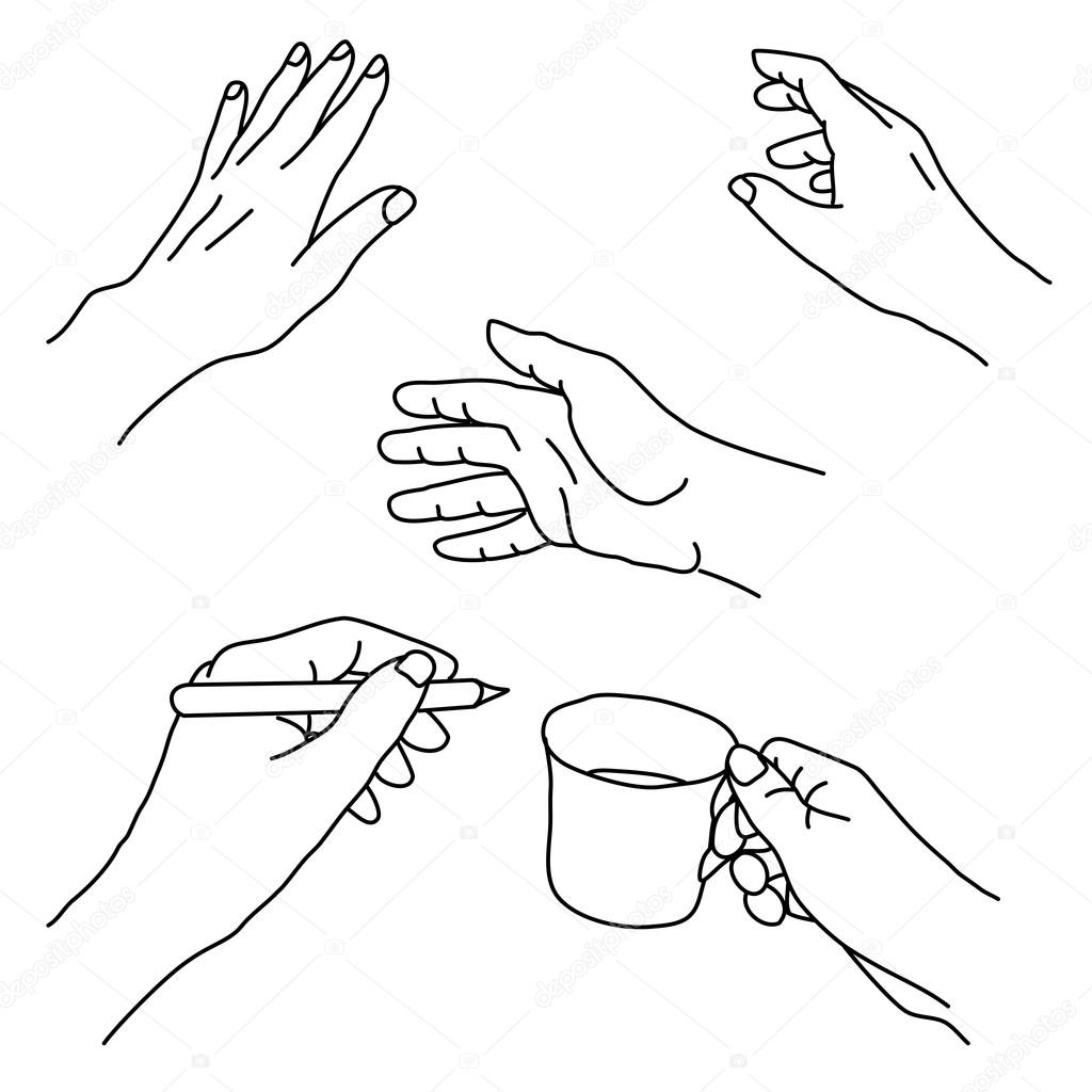1024x1024 Drawing Of Human Hands In Various Positions And Gestures Stock