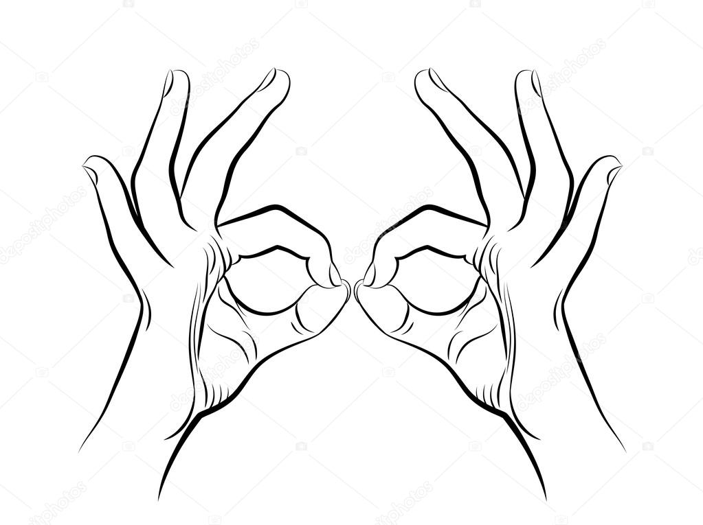 1023x765 Drawing Of Two Human Hands Stock Vector Alexcosmos