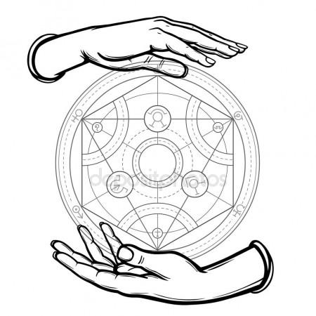 450x450 Human Hands Hold Alchemical Circle. Vector Illustration Isolated