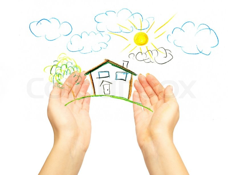 800x612 The Drawing House In Human Hands Stock Photo Colourbox