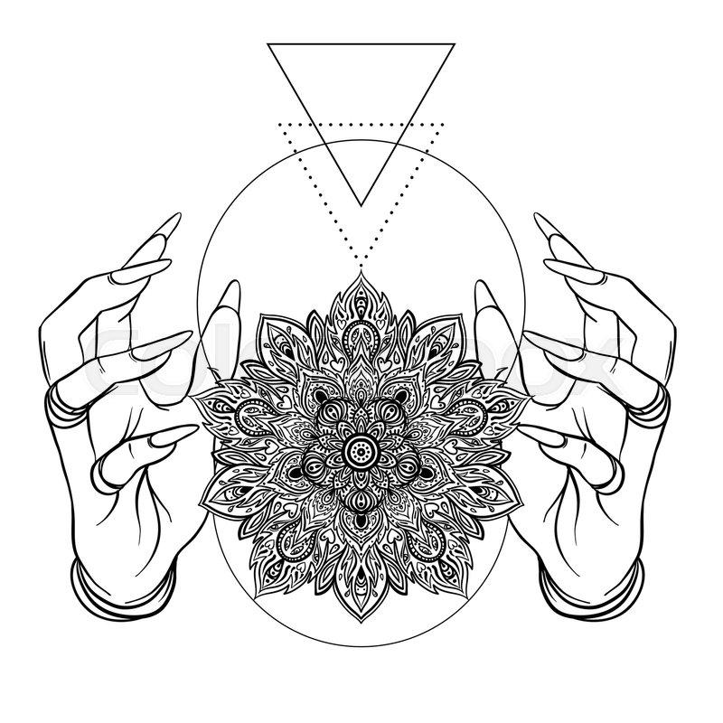 800x800 Vector Human Hands With Ornamental Lotus Flower, Ethnic Art