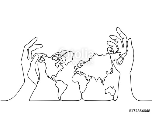 500x375 Continuous Line Drawing. Map Of The Earth In Human Hands. Vector