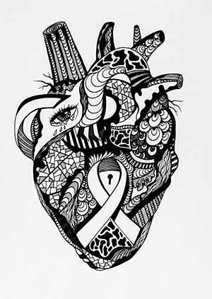 300x423 Human Heart Drawings