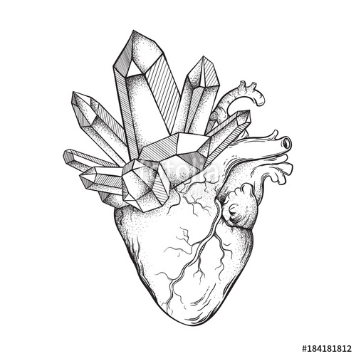500x500 Crystals Growing From Human Heart Isolated On White Background