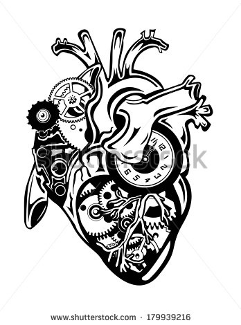 348x470 Steampunk Human Heart With Gears And Clock Pieces Vector