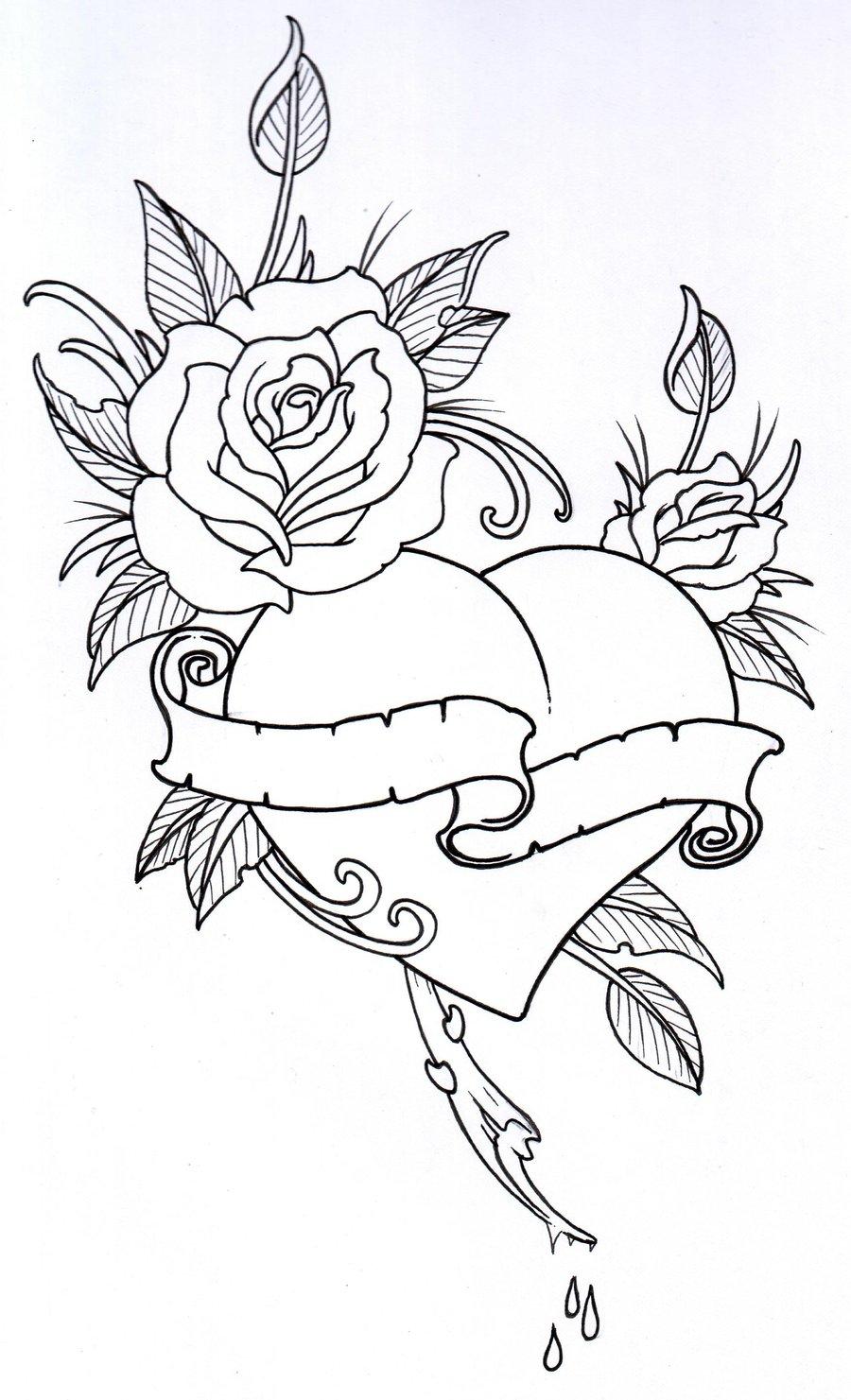 900x1481 Drawn Hearts Rose