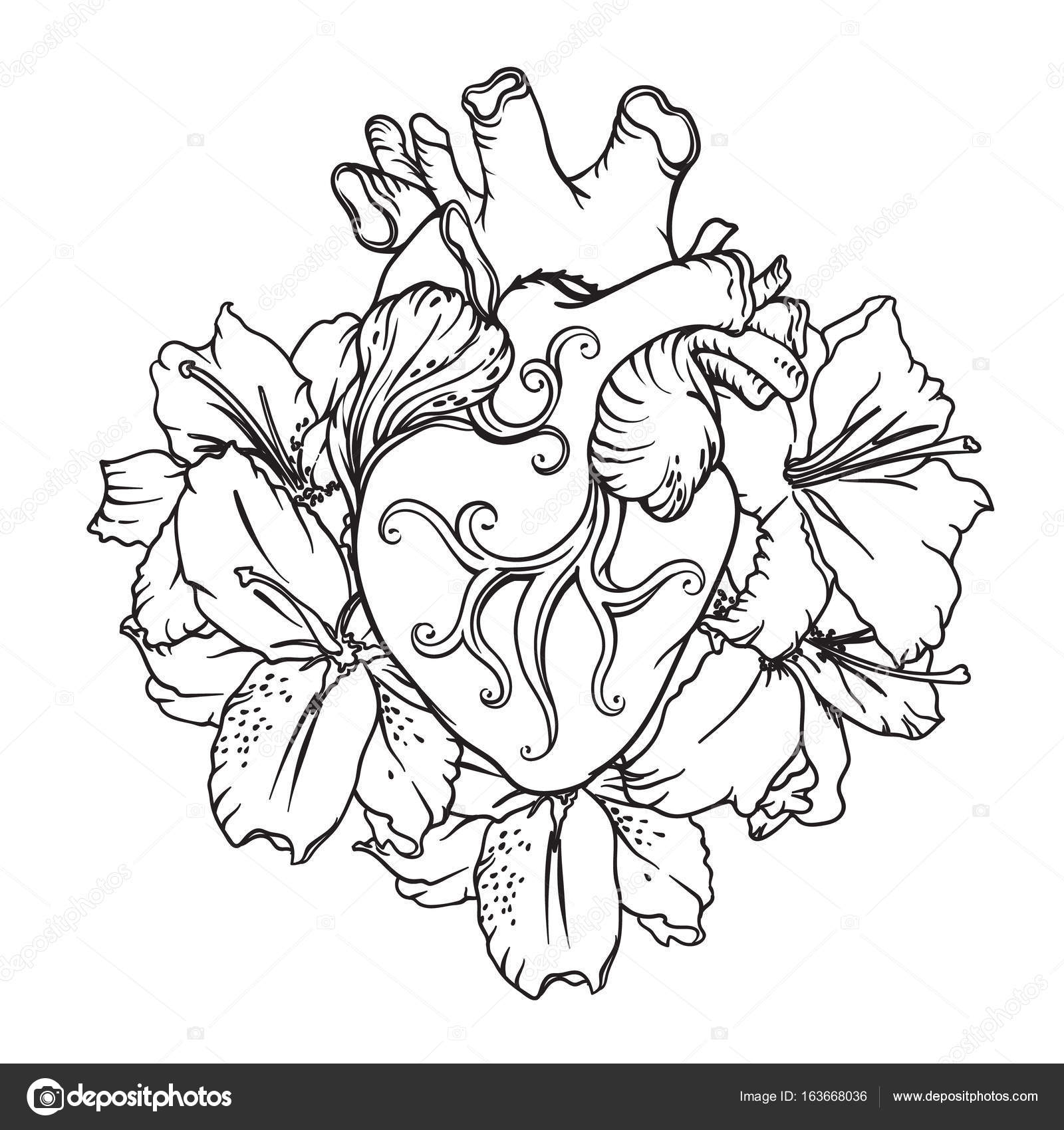 1600x1700 Heart With White Lilies In Romantic Style. Blooming Heart Concept