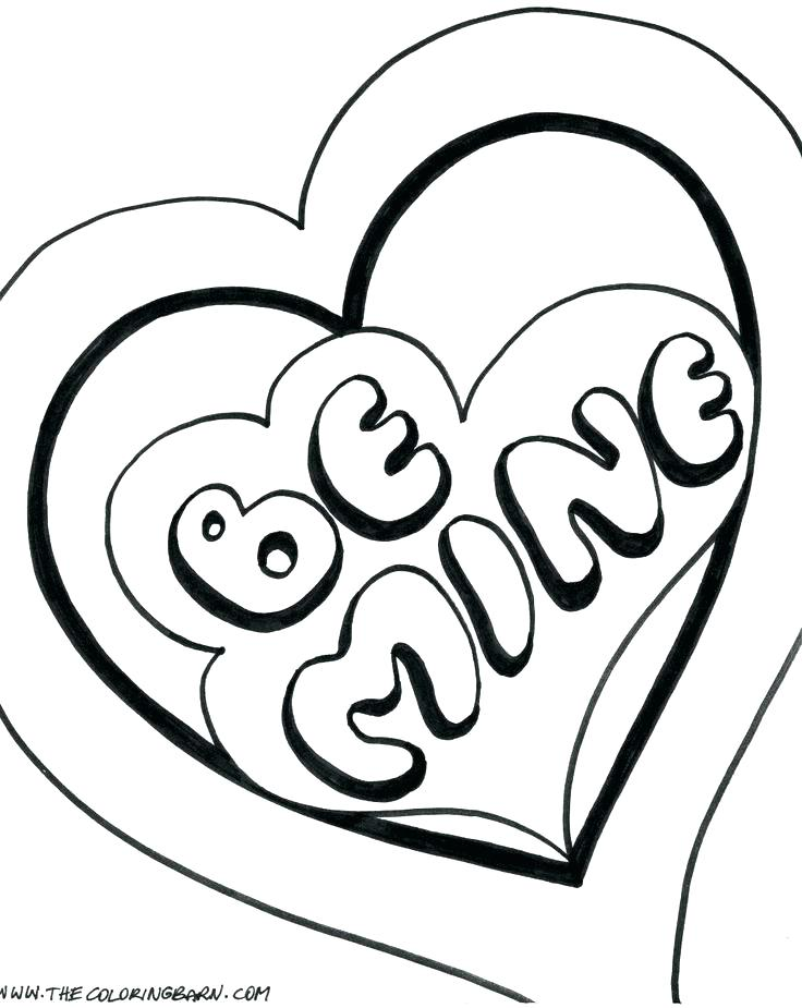 736x925 Heart Coloring Pages To Print Out Heart Shape Outline Printable