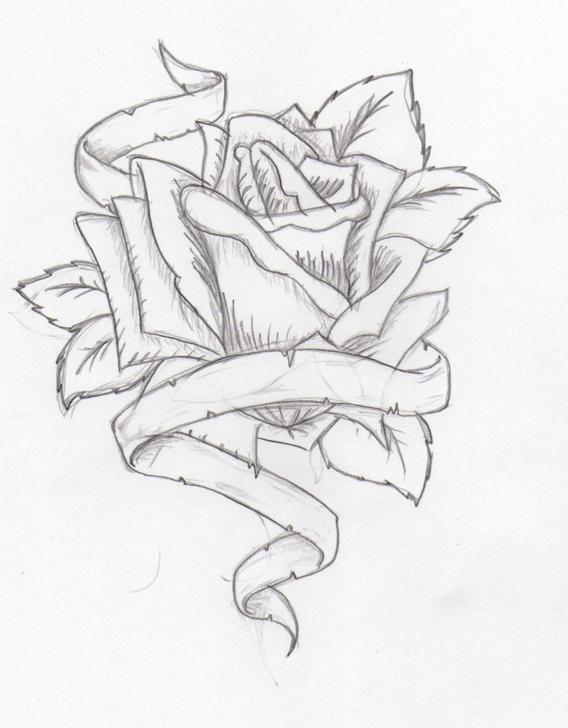 798x1024 Pencil Drawing Of Heart Drawings Of Hearts With Ribbons And Roses