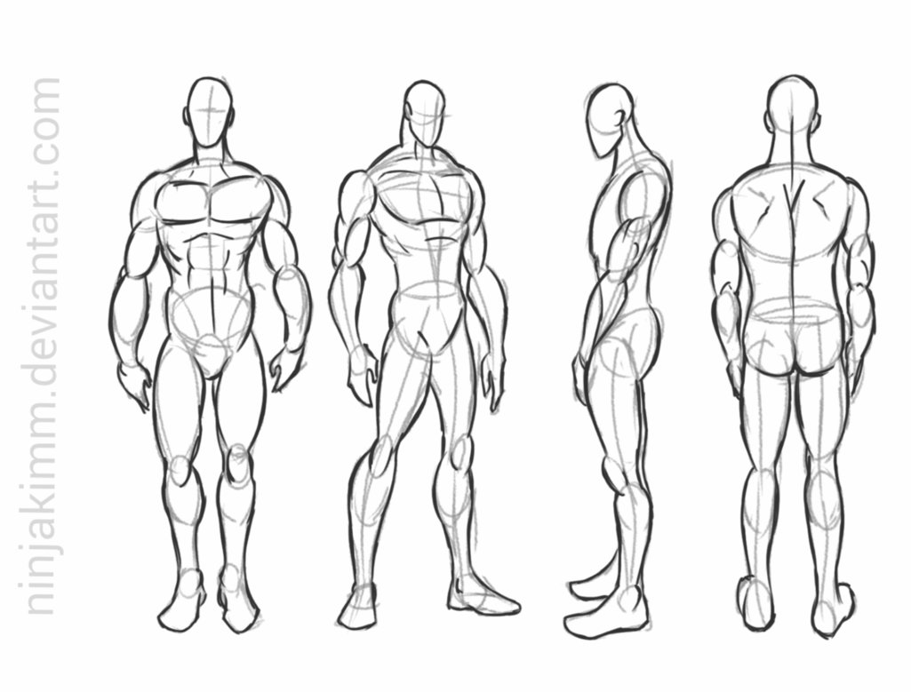 1025x779 Male Standing Pose (Commission Sketch) By Ninjakimm