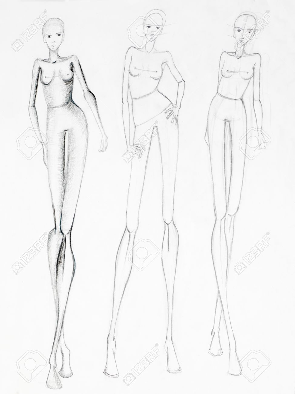 974x1300 Fashion Sketch Of Beautiful Slim Nude Women Silhouettes. Pencil