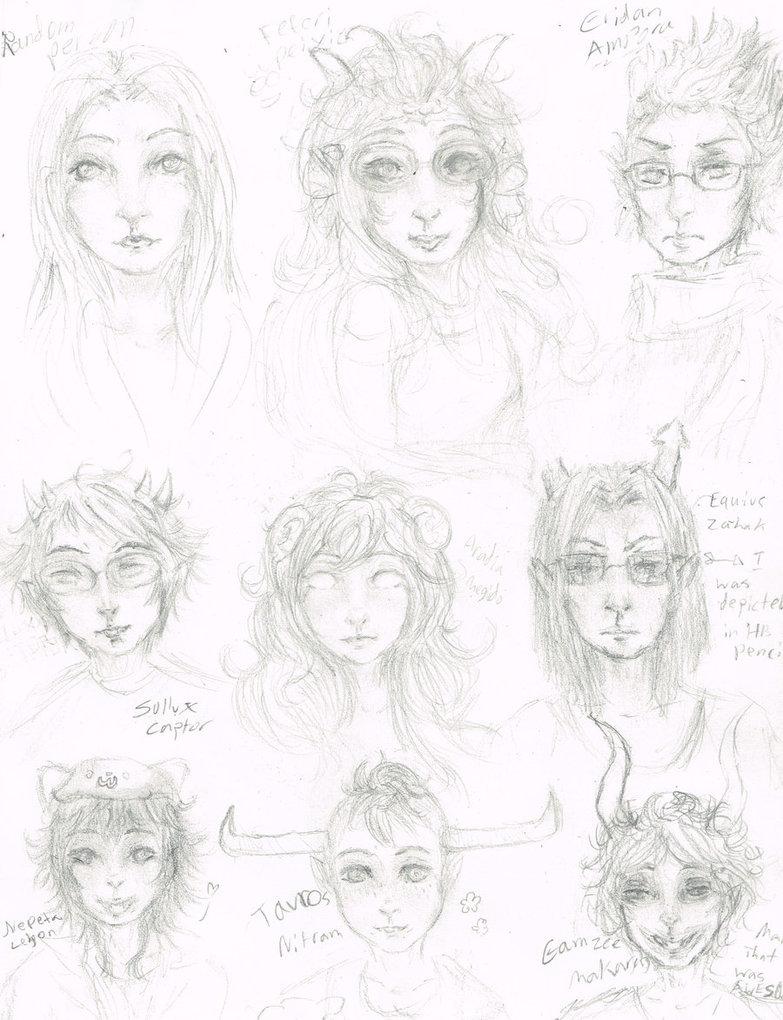783x1020 Homestuck Character Pencil Sketch Ft. Random Human By Elinfan