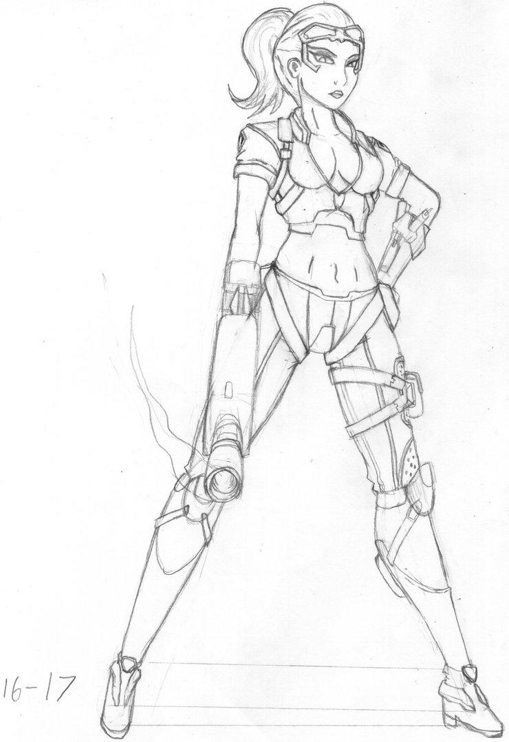 740x1078 Overwatch Widowmaker (Talon) Pencil Drawingsketch By