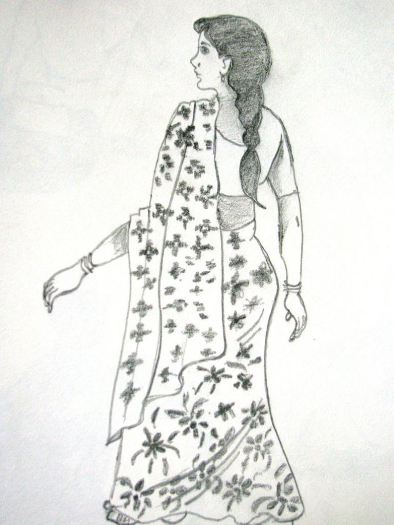 768x1024 Pencil Sketch Of Human Figure