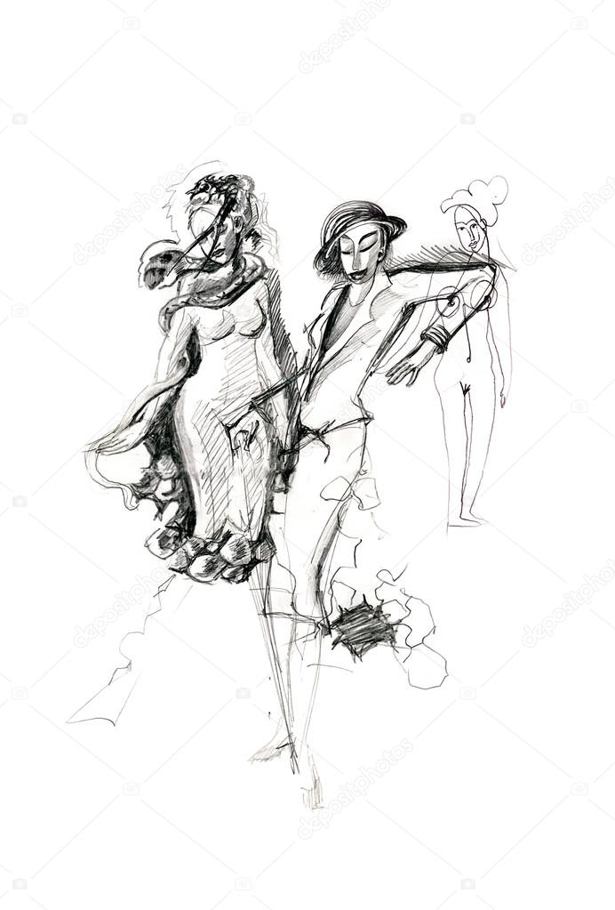 692x1023 Pencil Drawing Of Three Female Figures, Drawn By A Girl. Stock