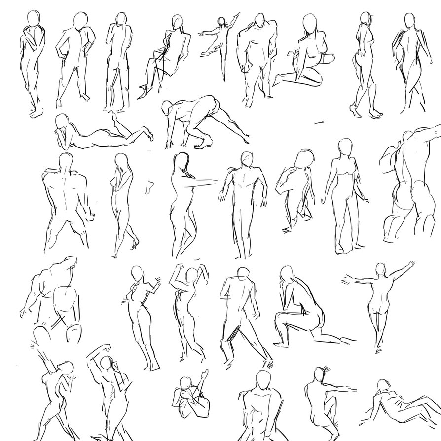 894x894 Human Poses By Jingsketch