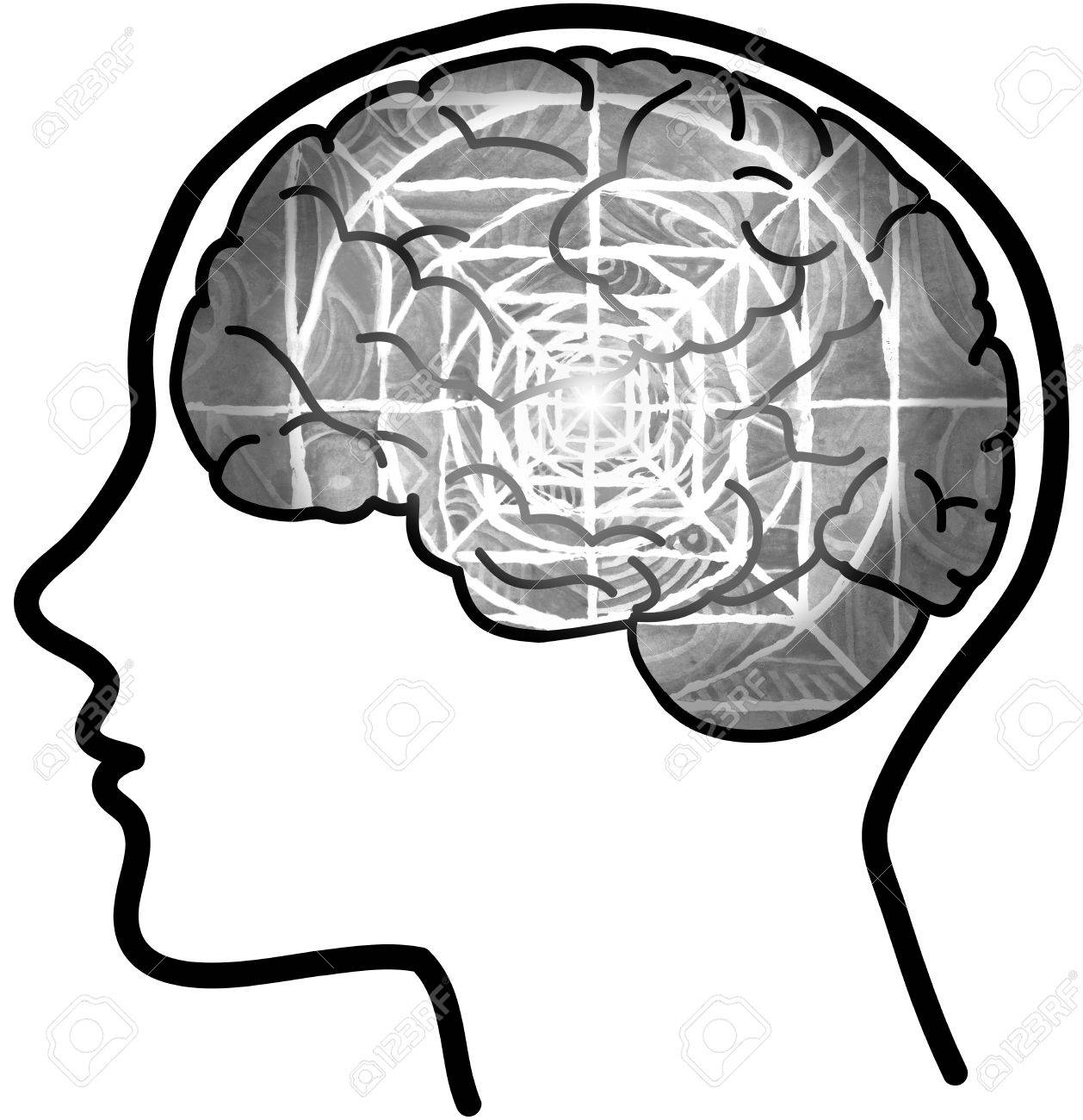 1258x1300 Human Profile And Grey Visible Brain With Concentric Circles Stock