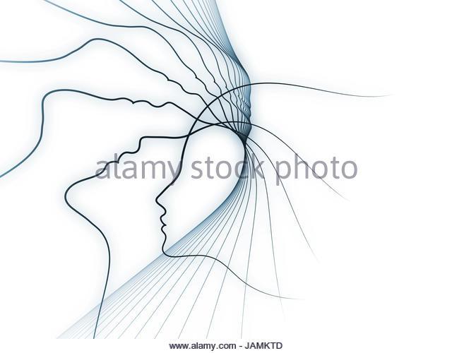 640x500 Drawing Blue Profile Head Brain Stock Photos Amp Drawing Blue