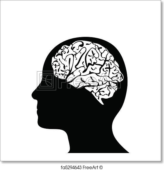 561x581 Free Art Print Of Silhouetted Head And Brain Black Side
