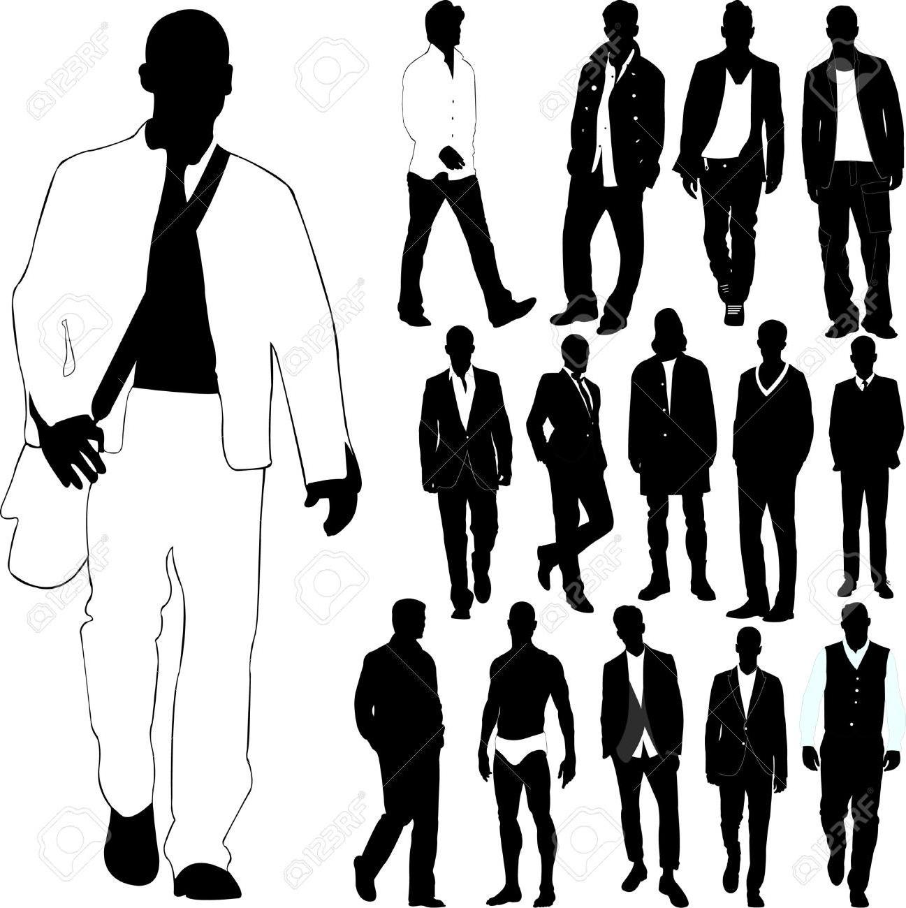 1297x1300 Hd Best Fashion Men Clothes Detail Stock Vector Silhouette Drawing