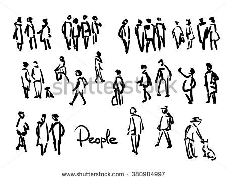 450x357 Casual People Sketch. Outline Hand Drawing Illustration People