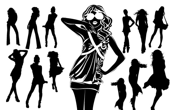 600x380 Silhouettes Of Beautiful Women In Vector Format Vector, Free