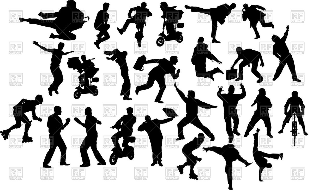 1200x743 Silhouettes Of People In Motionaction Royalty Free Vector Clip
