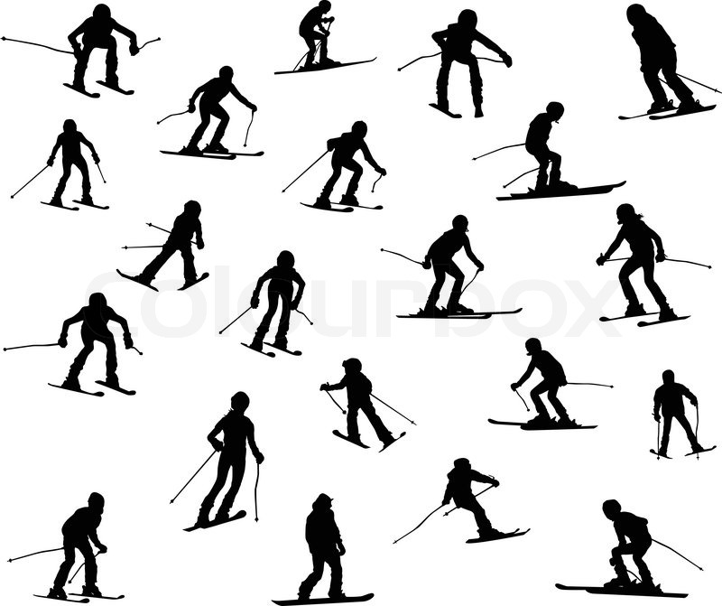 800x671 Twenty One Silhouette Of Skiers. Downhill Racing, A Snowboard